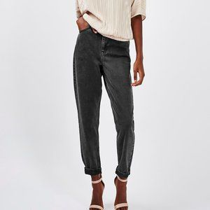 TOPSHOP Mom High Rise Black Washed Jeans TALL